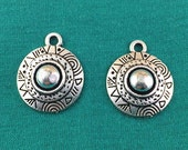12pcs Ancient Charms, Antique Tibetan Silver Flower Charm Pendant for Earrings 18mm M401-4