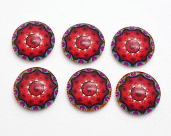 20pcs 12mm Round Handmade Photo Glass Cabochon - Flower
