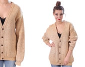 GRUNGE CARDIGAN Sweater . Vintage Womens 80s Grandad Style  Wool Long Knit Fuzzy Slouch Button Up Beige Grandma Unisex . Large to XL