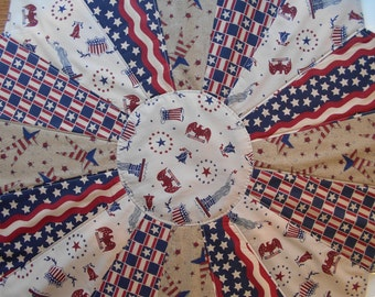 Quilted Table Topper, Americana Table Topper, Dresden Table Topper, Patriotic Quilted Table Topper, Patriotic Table Topper, Patriotic Fabric