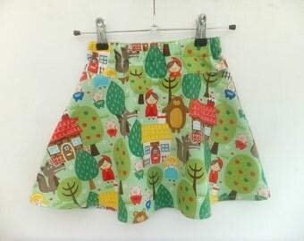 Girl's Skirt, Girl's Circle Skirt, Girl's Flared Skirt, Girl's Summer Skirt, Red Riding Hood, Goldilocks, Three Little Pigs, Sizes 2-7yrs