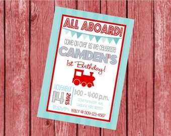 """Customized 5x7"""" Printable OR Printed Invitation WITH Envelopes - Red & Blue Vintage Choo Choo Train - Or Match ANY theme in my Shop"""