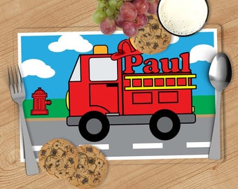 Fire Truck Kids Personalized Placemat, Customized Placemats for kids, Kids Placemat, Personalized Kids Gift