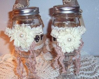 40% Off, Two, Mason Jar Wine Glasses, Rustic Wine Glasses, Set of Two, Burlap, Red Neck Wine Glasses, Mason Jar