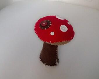 Countryside Softie Toadstool Plush Art Doll Red Brown Stuffed Fungus Mushroom Soft Shelf Sitter