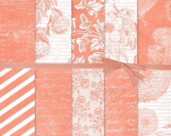 Coral Digital Paper, French Script Digital Paper, Peach Flower Digital Paper, Coral Wedding, Coral Botanical Digital Paper, #15170B