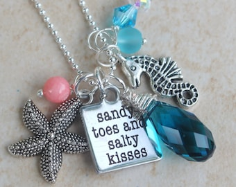 Beach Charm Necklace, Sandy toes & salty kisses, starfish, crystals, sea horse, coral, sea glass, Beach jewelry by Inarajewels