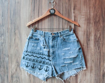 Nautical Anchor Denim Shorts Vintage Ripped Distressed High Waisted Tribal Waves Hand Painted