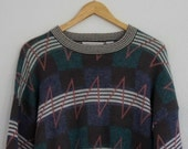 Vintage Unisex Sweater Hennessey Van Heusen Abstract Pattern 1990s Large