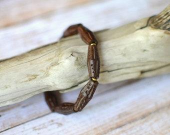 Mens Bracelet Carved Wood