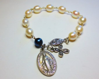 Freshwater Pearls and Blue Glass Pearl Rosary Bracelet for Brides