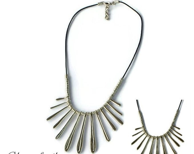 Statement necklace,Fan Necklace, bib necklace,Silver Statement Necklace,Fringenecklace,Silver Fringe Bib Necklace,Woman Gift