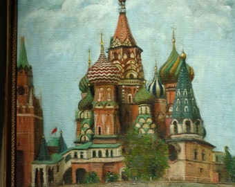 Vintage Original Folk Art Style Oil Landscape Painting of St. Basil's Cathedral, Moscow,  signed painted in 1978 Dueece Newsom (1926-2010)