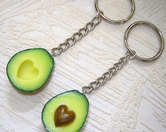 BFF key chain, polymer clay food key ring, avocado with the stone in the shape of a heart, miniature food charm, gift , set of two.