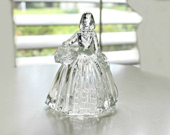 vintage glass candy figurine-Dutch woman holding flowers, figural glass, collectible glass