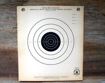 vintage NRA paper target/ official 50 ft. Slow Fire Pistol Target lot of 2, graphics