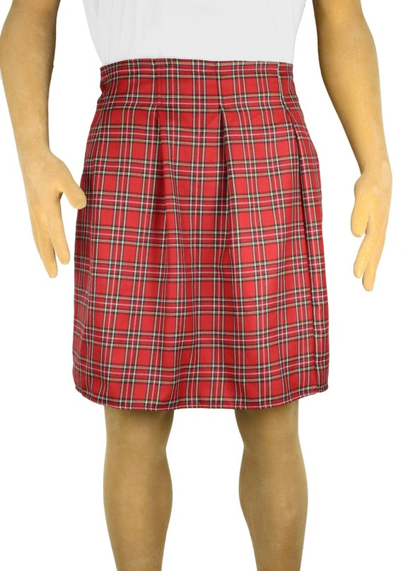 Red Plaid Scottish Kilt Costume Adult Menu0026#39;s Piper by SkirtStar