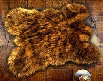 Golden Brown Bear Skin Throw Rug - Premium Faux Fur - Wolf - Coyote Rug Pelt