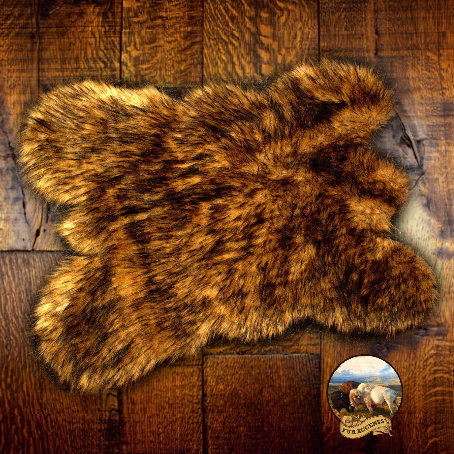 golden brown bear skin throw rug premium faux fur wolf. Black Bedroom Furniture Sets. Home Design Ideas