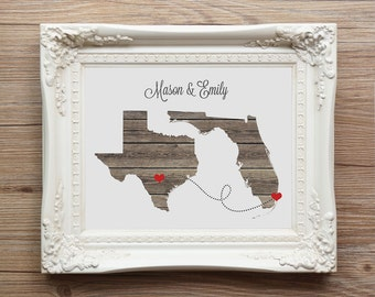 Two States Love Connection Gift - Long Distance Map Print - Burlap Wall Art Housewarming Map Present - Dotted Line