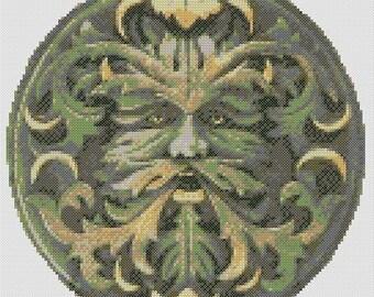 Green Man Cross Stitch PDF Chart Pattern Celtic Pagan Wicca Wiccan Spiritual Forest Guardian Design Stitching