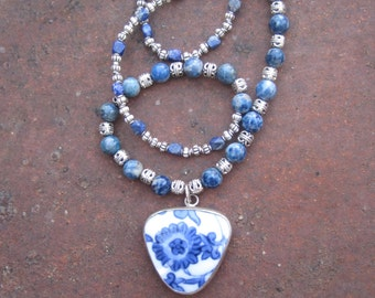 Boho Hippie Blue and White Chinese Pottery Piece Pendant on Lapis Beaded Necklace