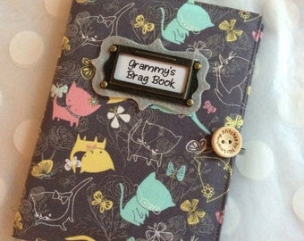 Photo Album Personalized Brag Book - Cats Meow Fabric - holds 48 Pictures