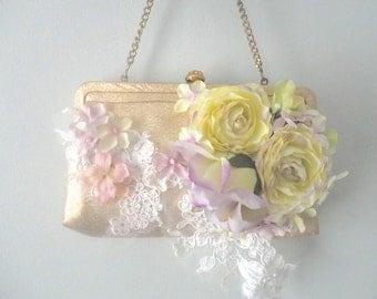 Vintage Wedding Purse, Gold Pocketbook, Flower Purse, Wedding Clutch, Upcycled Handbag, Little Gold Purse, Romantic Bride, Bohemian Bride