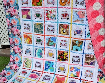 Modern Pop Art Quilt Hippie Patchwork VW Bug Flower Power Mod Kitch Boho Chic Colorful Hipster Funky Handmade Large Throw Small Twin
