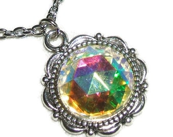 CRYSTAL AB NECKLACE Czech Glass Pendant Quality Faceted Color Changing Stone Silver Pltd