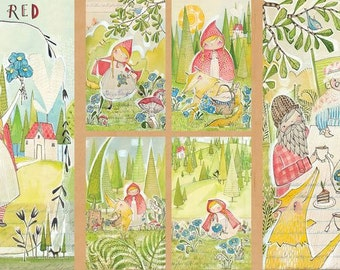 Blend Fabrics - Little Red - The Real Story Panel