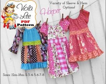 Harper Toddler Peasant Dress Pattern pdf. Girl's Peasant Dress Pattern. Top & Dress Girl's Sewing Pattern. Toddler Sewing Pattern.  Pattern