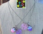 Girls Monogram Personalized Cupcake Birthday Necklace