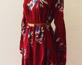 Bohemian Dress, Boho Dress Asymmetric Hem Dress, Boho Floral Dress Maroon Red Over Size Camping Girl Look, Maternity Dress US4-US8