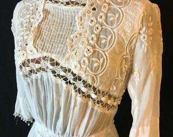 Vintage White Edwardian Victorian Cotton Lace Wedding Dress Small 32 D439