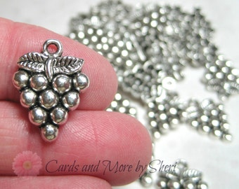 Antique Silver Grapes Charms (10)