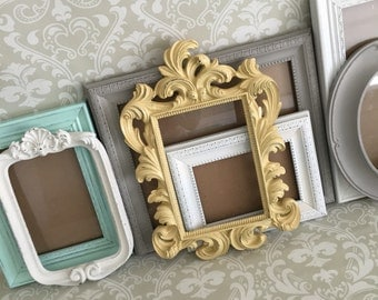 Custom Colors Gallery PICTURE FRAMES -  Vintage Style - shabby chic wedding - Glass and Backing