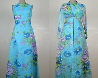 25% Off Summer Sale.... Vintage 1960s Blue Floral Dress 60s Organza Hostess Gown with Long Sheer Overcoat Size 4/S