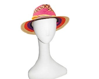 Striped Straw Sun Hat, Made in Italy by Miriam Lefcourt, Pink, Purple, Yellow, Orange Stripes, Hat Size 22