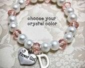 Personalized Flower Girl Bracelet w/ Initial -CP- Flowergirl Bracelet, Choose Your Color, Pearl Bracelet, Initial Bracelet, Flowergirl Gift