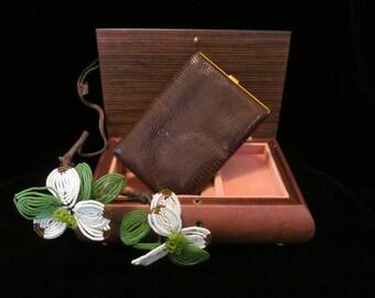 Vintage Midcentury Leather Calling Card Case Faux Snakesin / Armadillo Print Goldtone Metal Cigarette Case