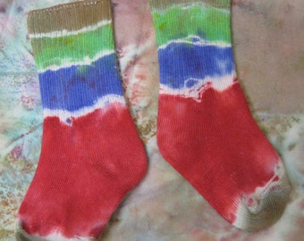 Tie Dye Socks Kids Size 4 in Olive, Green, Blue and Red TDC119