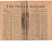 1938 Newspaper, Diller Nebraska History, The Diller Record, Genealogy Research, Vintage Advertising, Newspaper Comics
