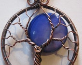 A Blue Moon Tree of Life, Blue Moon, Royal Blue Iridescent Mother of Pearl Moon Tree
