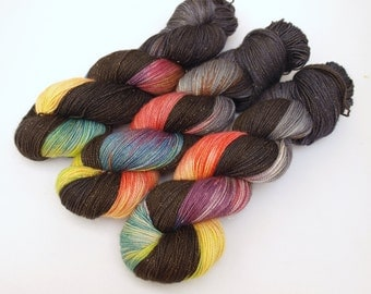 Hand Dyed Fingering/Sock Sparkle Yarn, Superwash Merino/Nylon/Stellina, Out Of The Darkness
