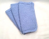 Blues hand knitted soft cotton pot holders or dish cloths set of three