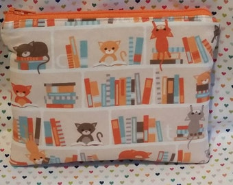 Library cats literary padded zipper pouch