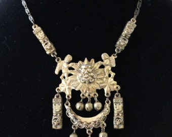 Unique Vintage Signed Peruvian Art Choker Necklace
