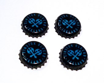 Iceland Beer Bottle Caps (4) Einstok Olgerd Brewing Company Viking Axe Weapon Beer Caps Black Craft Supply Bottlecaps Metal Beverage Caps