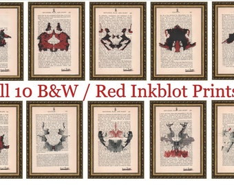 10 Hermann Rorschach Inkblot Test B&W / Red Prints Doctor Psychology Psychiatry Freud Gift Mental Health Dictionary Book Wall Office Art